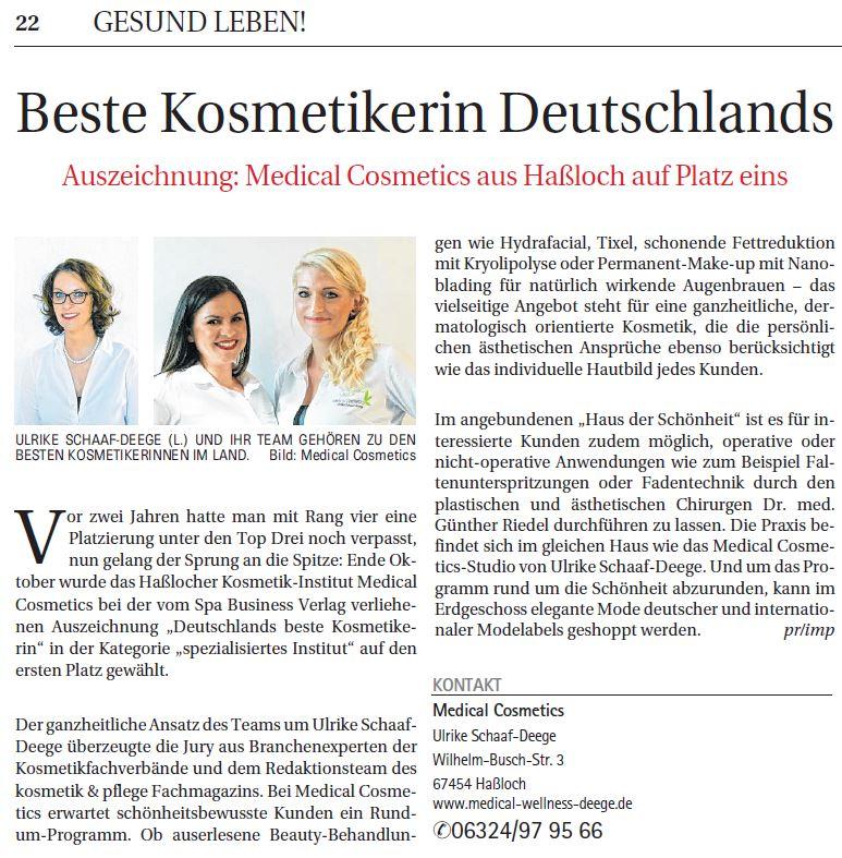 Beste Kosmetikerin Deutschlands